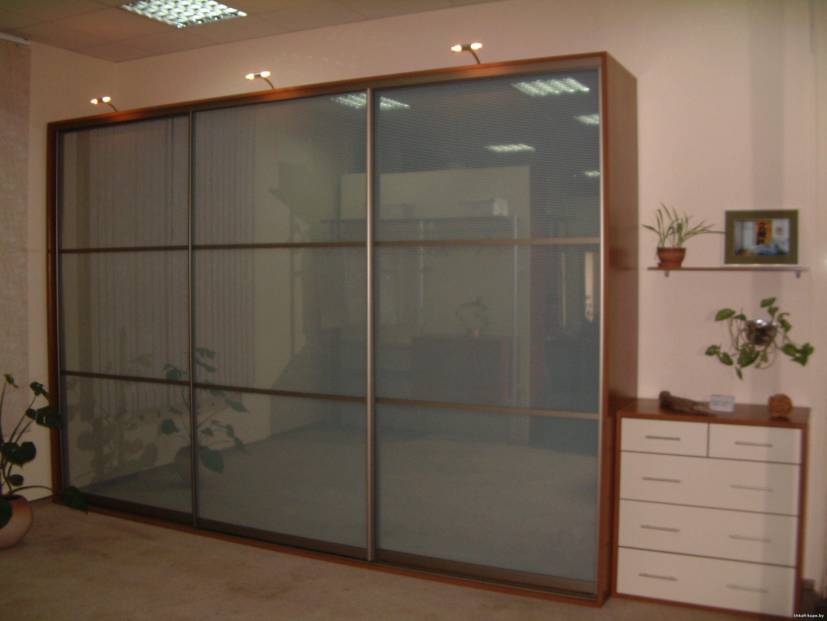 Шкаф-купе с дверями-стекло сатинат селена - шкафы-купе, кухн.